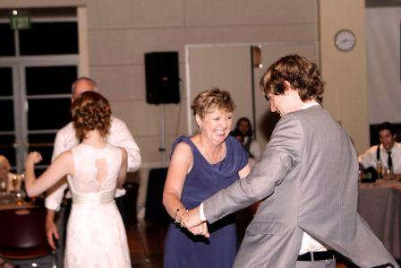 Sue dancing with her son, Curtis, at his wedding